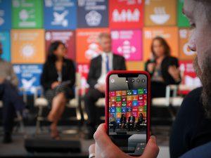 sustainable development goals on phone screen