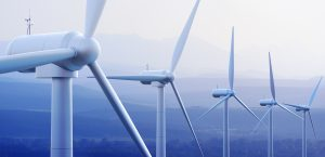 Wind Turbines with distant mountains